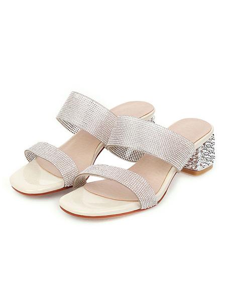 Milanoo Women\'s Double Strap Slides Crystal Sandlas Beach Slippers Block Heel Sandal