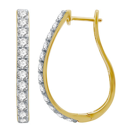 2 CT. T.W. Genuine Diamond 10K Gold 30.2mm Hoop Earrings, One Size , No Color Family