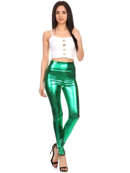 Milanoo Green Adults Leggings Shiny Metallic Skinny Pants for Women