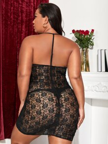 Plus Floral Lace Zip-up Slips With Thong