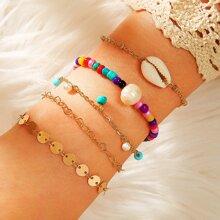 5pcs Shell Decor Beaded Bracelet