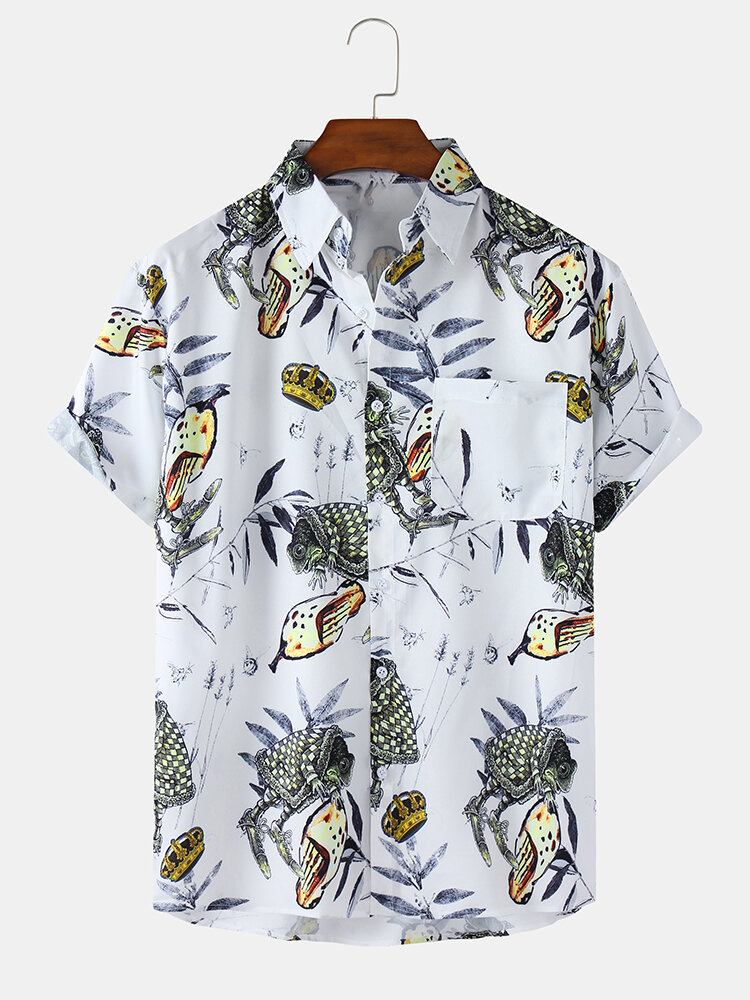 Mens Plant Printed Light Casual Short Sleeve Shirts With Pocket