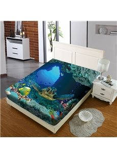 Sea Turtles Roaming The Underwater World Reactive Printing 1-Piece Polyester Bed Cover / Mattress Cover