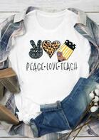 Leopard Peace Love Teach Striped T-Shirt Tee - White