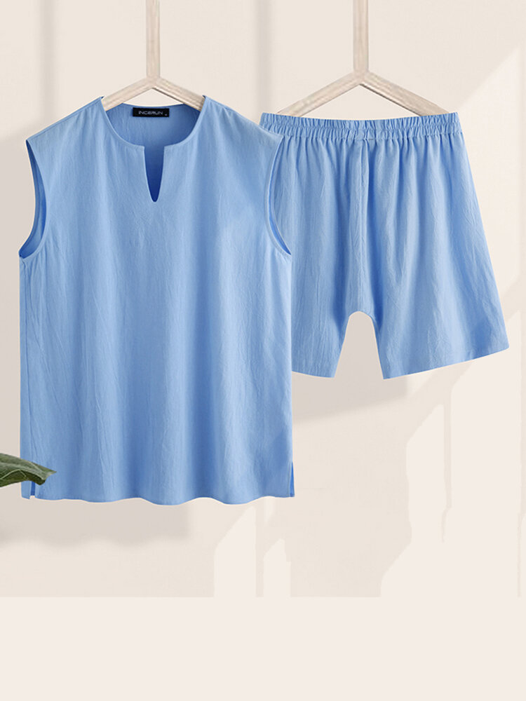 Comfy Pure Color Two Pieces Loungewear Sets Pockets Lightweight Sleeveless Tops & Short Pant Outfits