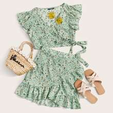 Ruffle Trim Surplice Wrap Ditsy Floral Top & Skirt Set