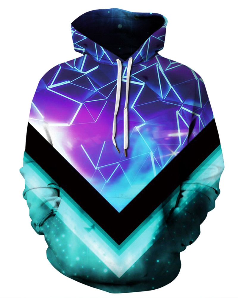 Vibrant Color Loose Model Pullover Unisex Casual Style 3D Painted Hoodie