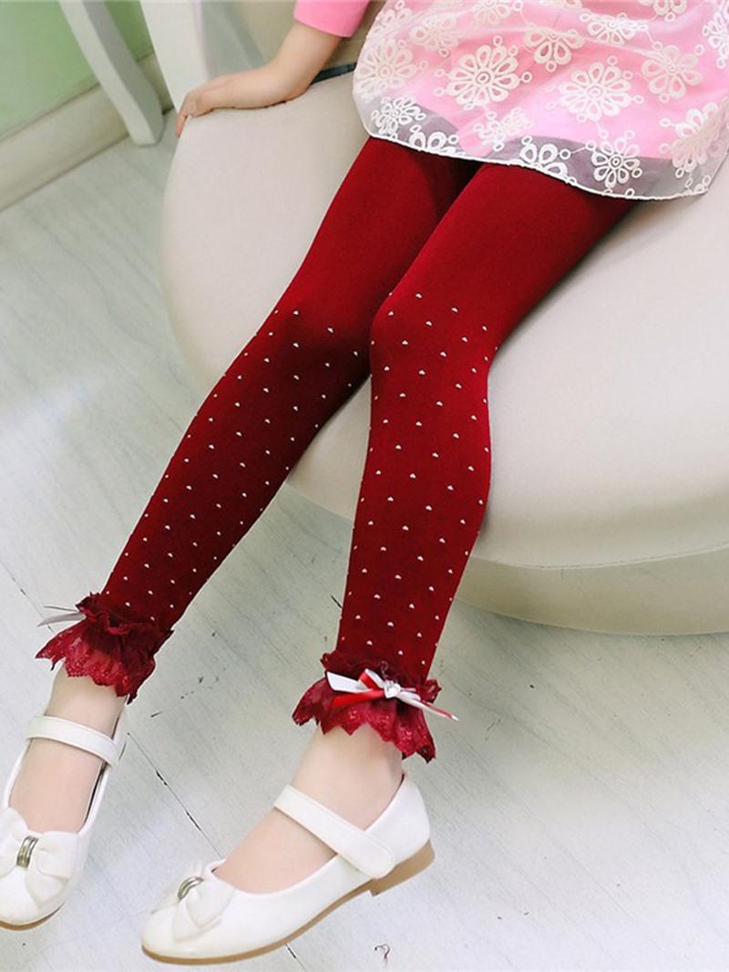 Ericdress Polka Dots Lace Girls Leggings
