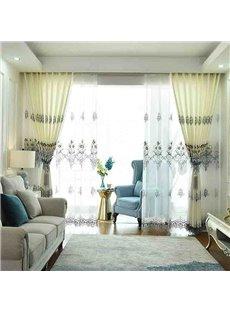 European Elegant Beige Decorative 2 Panels Living Room Sheer Curtain