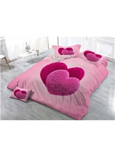 Sweet Heart Princess Style Wear-resistant Breathable High Quality 60s Cotton 4-Piece 3D Bedding Sets