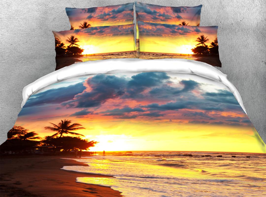 Palm Tree Golden Beach Scenery 3D Coastal 4pcs Bedding Sets Zipper Colorfast Hard-wearing Duvet Cover with Corner Ties