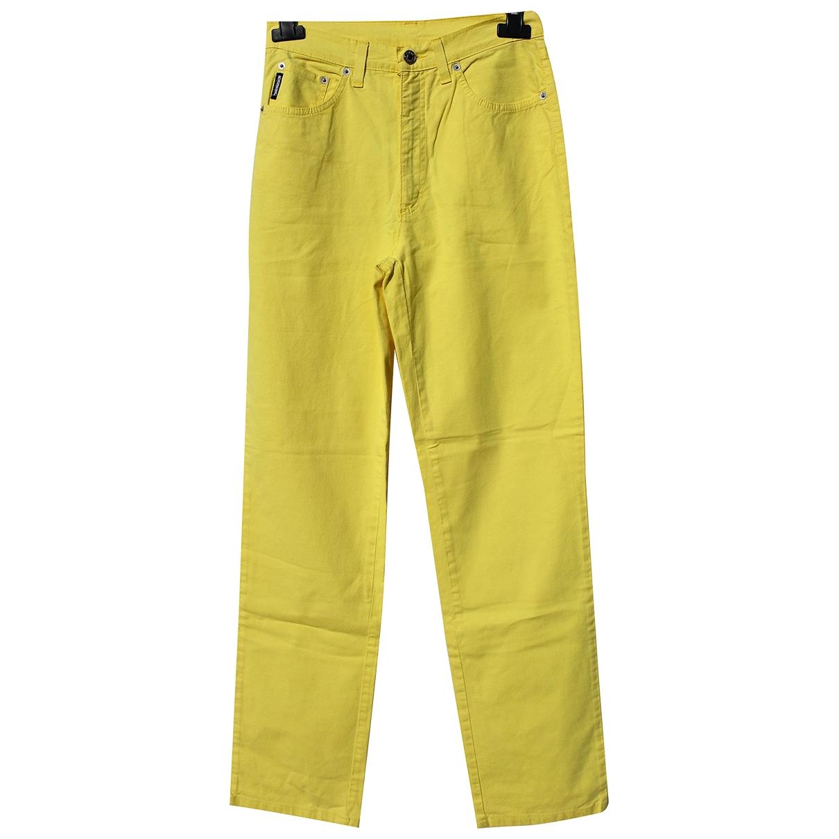 Iceberg \N Yellow Cotton Trousers for Women S International