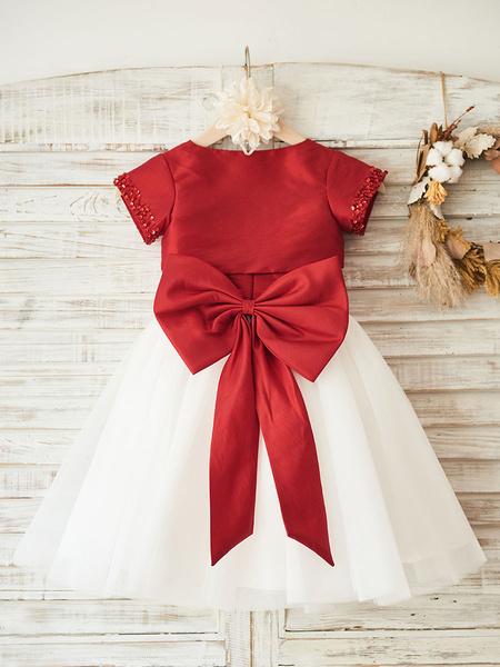 Milanoo Flower Girl Dresses Jewel Neck Tulle Short Sleeves Knee Length Princess Silhouette Bows Formal Kids Pageant Dresses