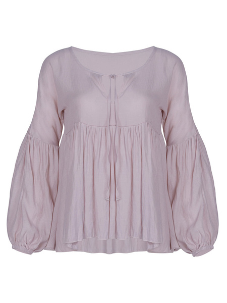 Milanoo Women\'s Sexy Blouse Long Sleeves V-Neck Polyester Women\'s Blouse
