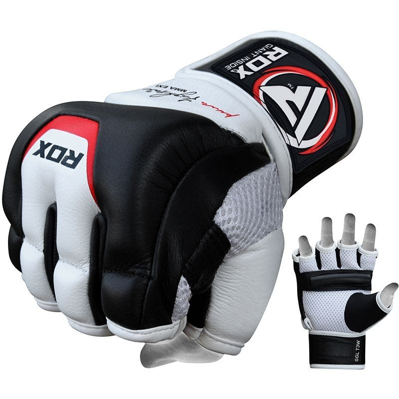 RDX T3 Grappling MMA Gloves in Leather Padded Medium White