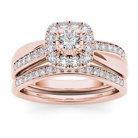 Womens 5/8 CT. T.W. Genuine White Diamond 10K Rose Gold Bridal Set, 8 , No Color Family