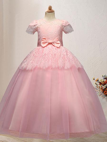 Milanoo Flower Girl Dresses Jewel Neck Short Sleeves Ankle Length Bows Kids Social Party Dresses