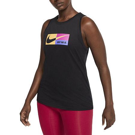 Nike Womens Round Neck Sleeveless Tank Top, X-large , Black