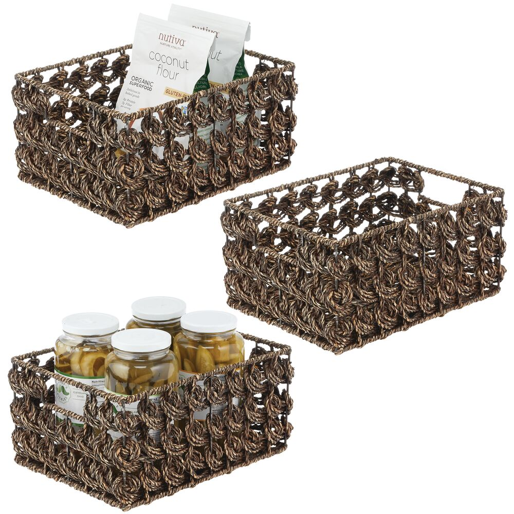 Natural Woven Seagrass Storage Baskets - Pack of in Brown, 16