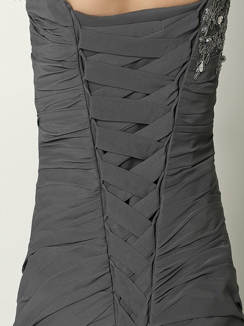 Ericdress A-Line One-Shoulder Appliques Beading Pleats Floor-Length Evening Dress