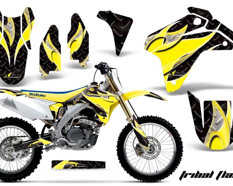 AMR Racing Dirt Bike Graphics Kit Decal Sticker Wrap For Suzuki RMZ450 2005-2006áTRIBAL YELLOW BLACK