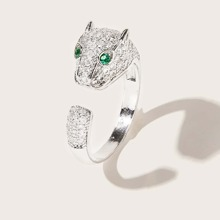 1pc Rhinestone Decor Leopard Ring