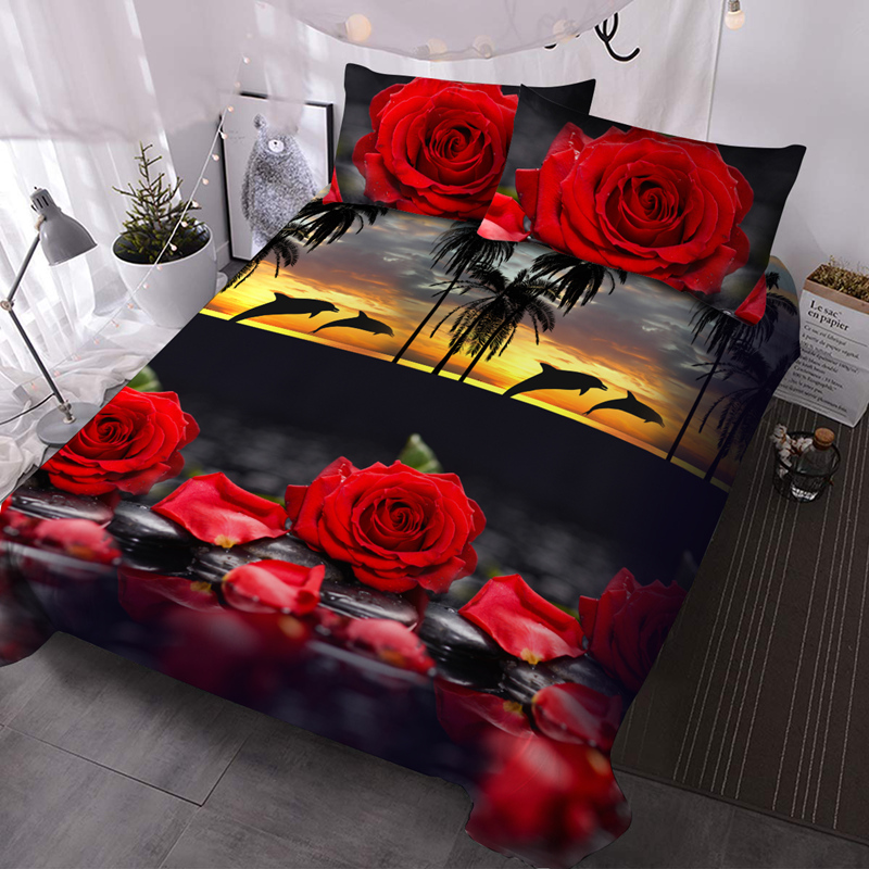 Red Roses and Dolphins 3Pcs Microfiber No-Fading Comforter Set 3D Floral Comforter with 2 Pillow Covers