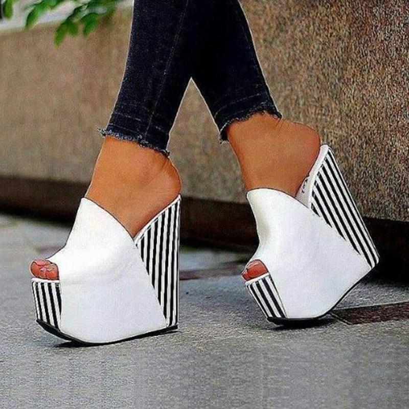Ericdress White Platform Slip-On Wedge Sandals