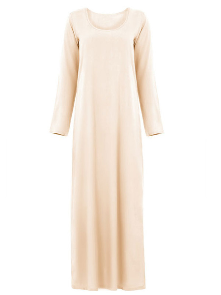 Milanoo Muslim Kaftan Dress Long Sleeve Women Maxi Dress Arabian Clothing