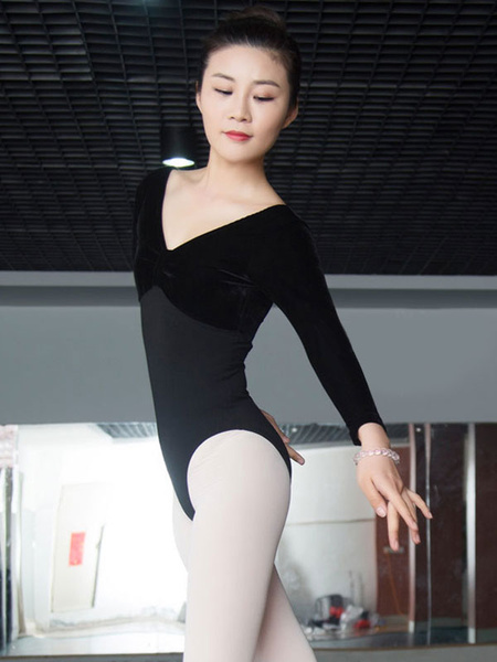 Milanoo Ballet Dance Leotard Costume Women's Black Velour Long Sleeve Bodysuit