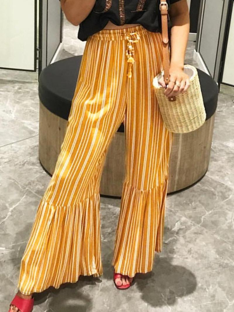 Ericdress Stripe Loose Print Full Length Wide Legs Casual Pants