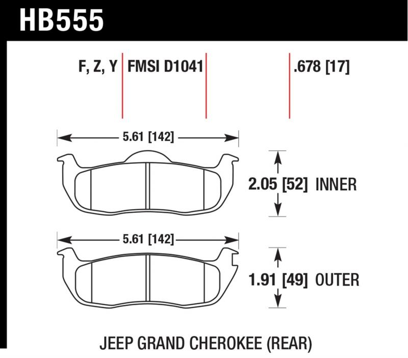 Hawk Performance HB555Y.678 Disc Brake Pad Rear