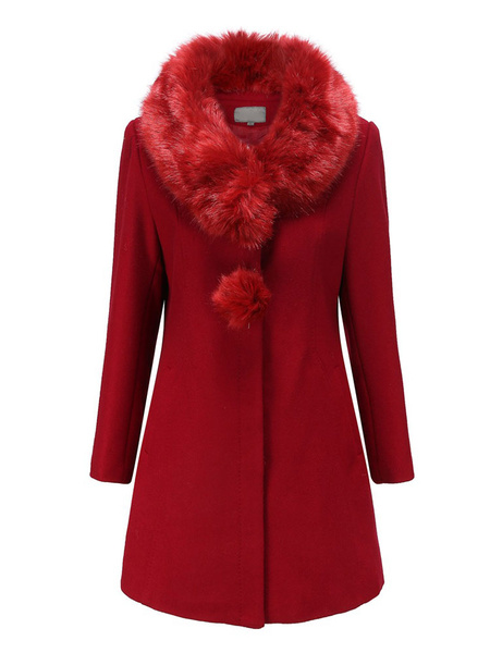 Milanoo Woman Black Coat Faux Fur Turndown Collar Long Sleeve Slim Fit Winter Coats With Pom Poms