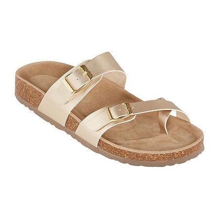 Arizona Fairhaven Womens Adjustable Strap Footbed Sandals, 6 Medium, Yellow