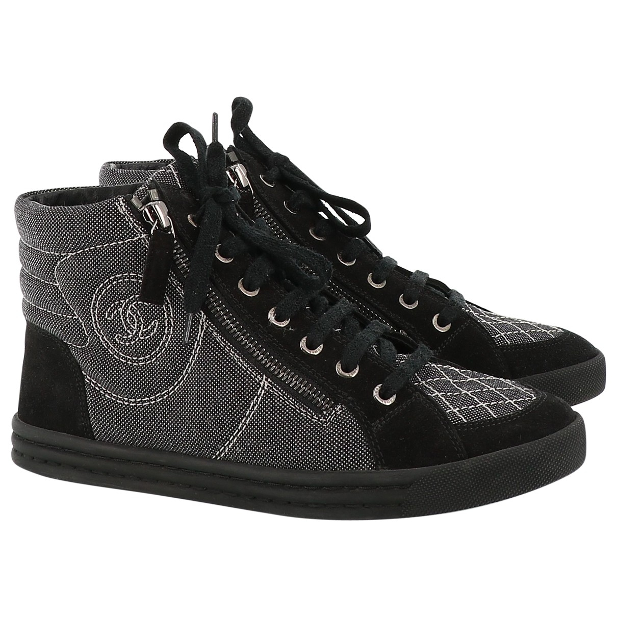 Chanel \N Black Suede Trainers for Women 37.5 EU