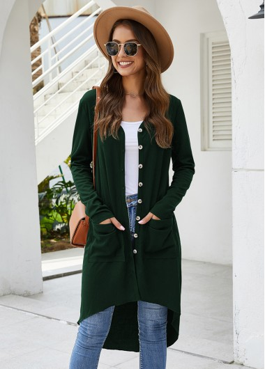 Pocket Detail Long Sleeve Open Front Cardigan - XL