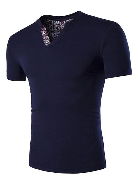 Milanoo Men Casual T Shirt Designed Neckline Print Plus Size Slim Fit Short Sleeve T Shirt