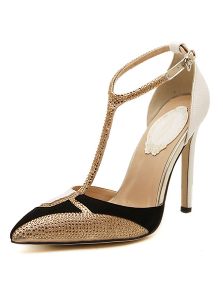 Milanoo Black High Heels Women Pointed Toe T Type Rhinestones Ankle Strap Pumps