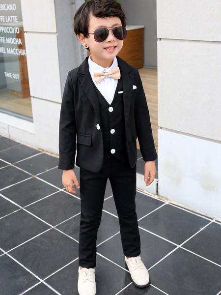 Milanoo Ring Bearer Suits Boys Wedding Outfit Tuxedo Black Kids Formal Wear 3 Piece Set