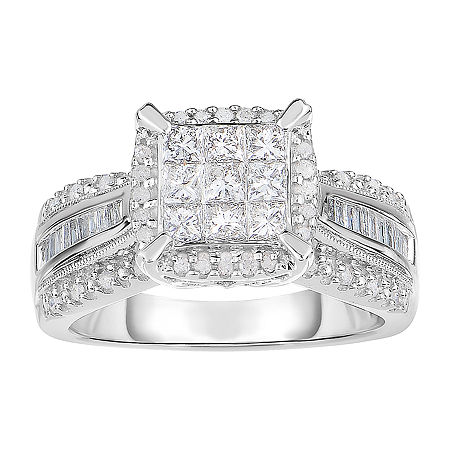 1 CT. T.W. Genuine Diamond 10K White Gold Princess-Cut Multi-Top Ring, 8 , No Color Family