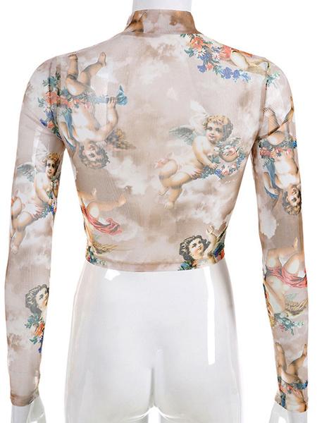 Milanoo Women Crop Top Light Sky Blue High Collar Long Sleeves Casual Angel Print Sheer Tops