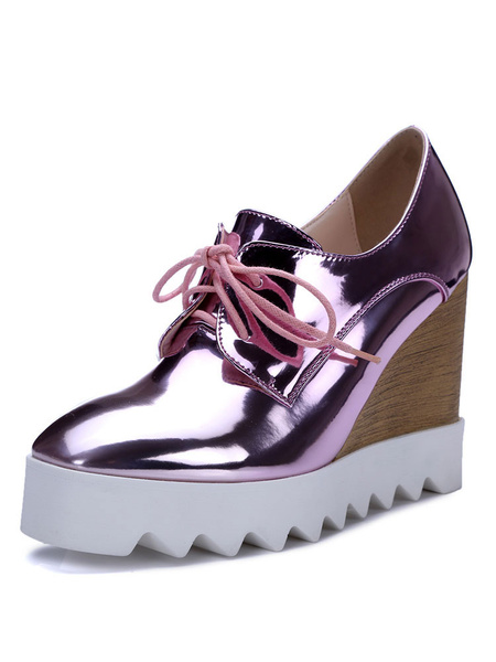 Milanoo Women Wedge Heel Oxfords Casual Square Toe Lace Up Shoes