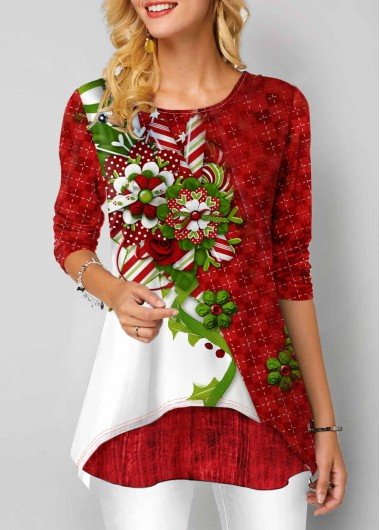 Women'S Red Floral Print Long Sleeve Round Neck Tunic T Shirt  Layered Hem Casual Holiday Top By Rosewe - XL