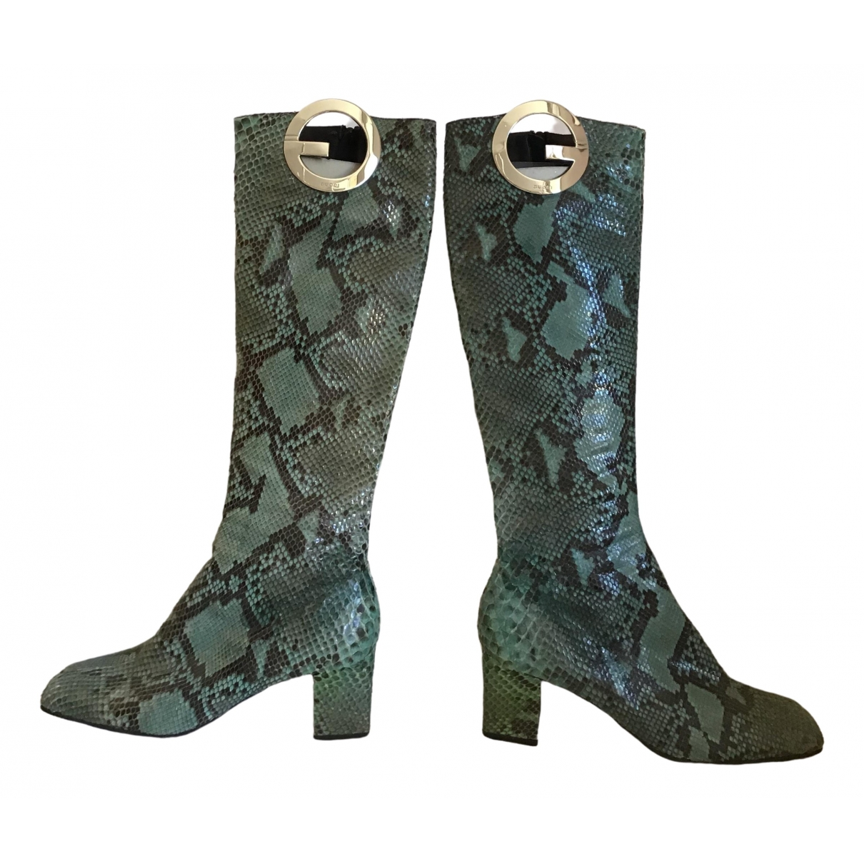 Gucci \N Turquoise Python Boots for Women 40 IT