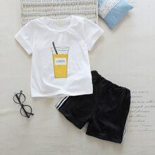 Toddler Girls Lemon Juice Pint Tee & Side Striped Track Shorts