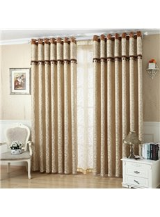 European Style Contemporary Beige Two Panels Custom Sheer Curtains Polyester Net Drapes for Living Room