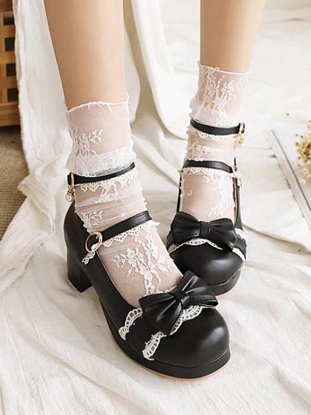 Milanoo Sweet Lolita Footwear Black BowsLace Round Toe PU Leather Lolita Pumps