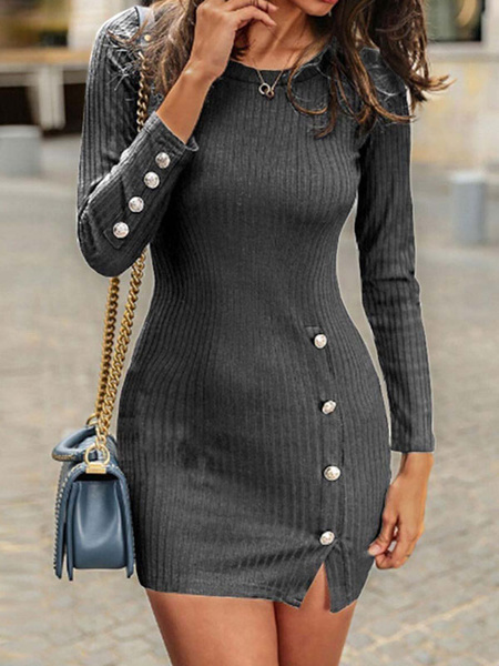 Milanoo Long Sleeve Bodycon Dresses Blue Jewel Neck Buttons Pencil Dress