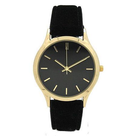 Olivia Pratt Velvet Womens Black Strap Watch-17459black, One Size , No Color Family