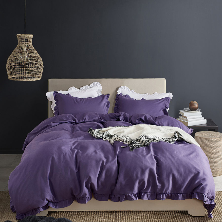 Simple Style Plain Pattern Three Piece Set Polyester Material Bedding Sets